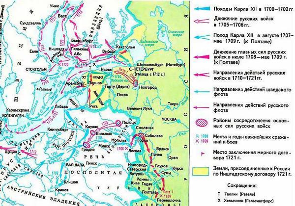 Северная война на карте